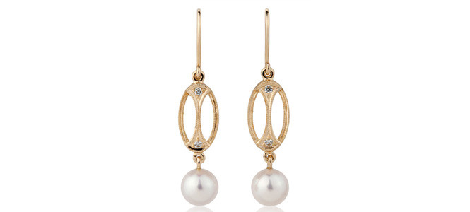 LITTLE HERA 18ct YG diamond & pearl earrings