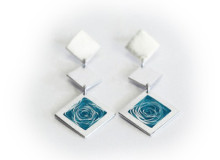 WHIRLPOOL earrings in silver and aqua blue enamel