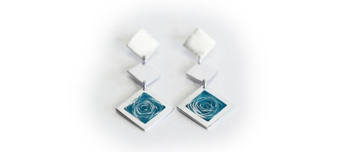 WHIRLPOOL earrings in silver and aqua blue enamel