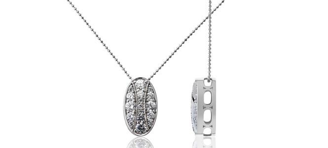 QUEEN HERA 18ct WG & diamond slider pendant