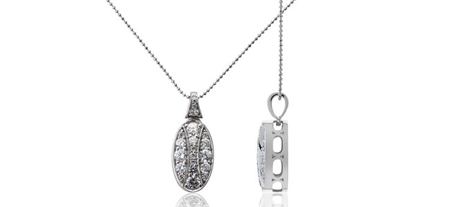 QUEEN HERA 18ct WG & diamond slider pendant