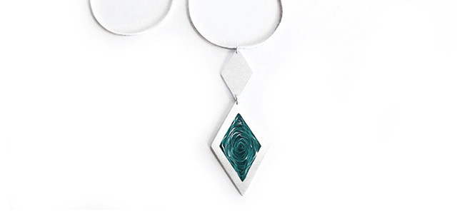 WHIRLPOOL pendant in silver and green enamel