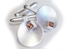 TILT cuff links in sterling silver and citrine