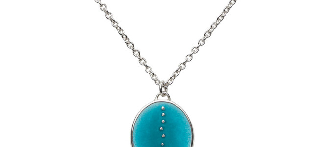 RESONATE pendant in silver and blue enamel
