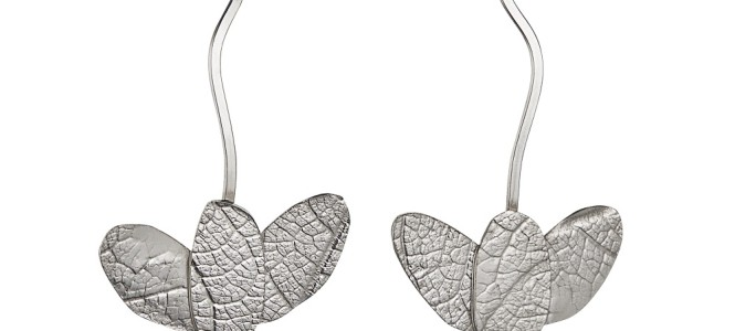 MYRTACEAE series embossed sterling silver earrings
