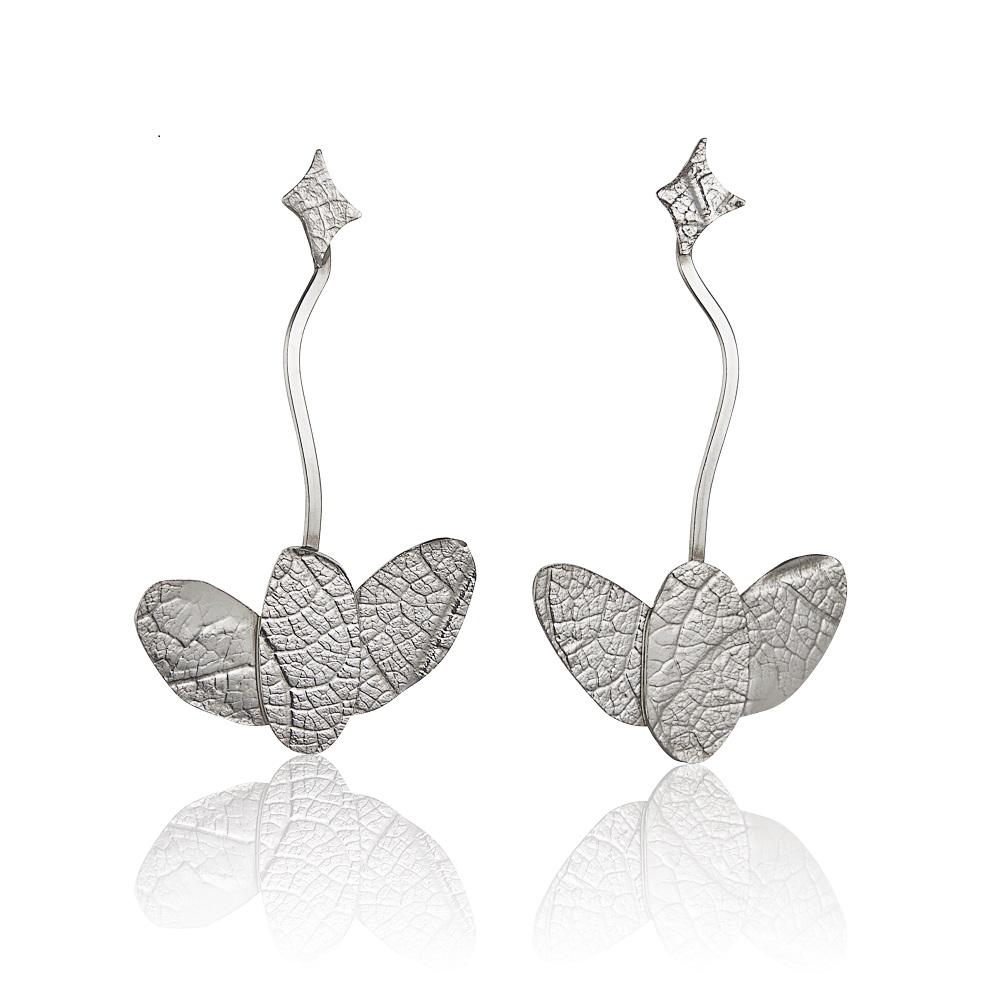 MYRTACEAE series embossed sterling silver earrings