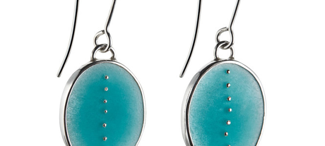 RESONATE earrings in silver and blue enamel