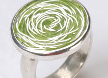 WHIRLPOOL ring in silver and light green enamel