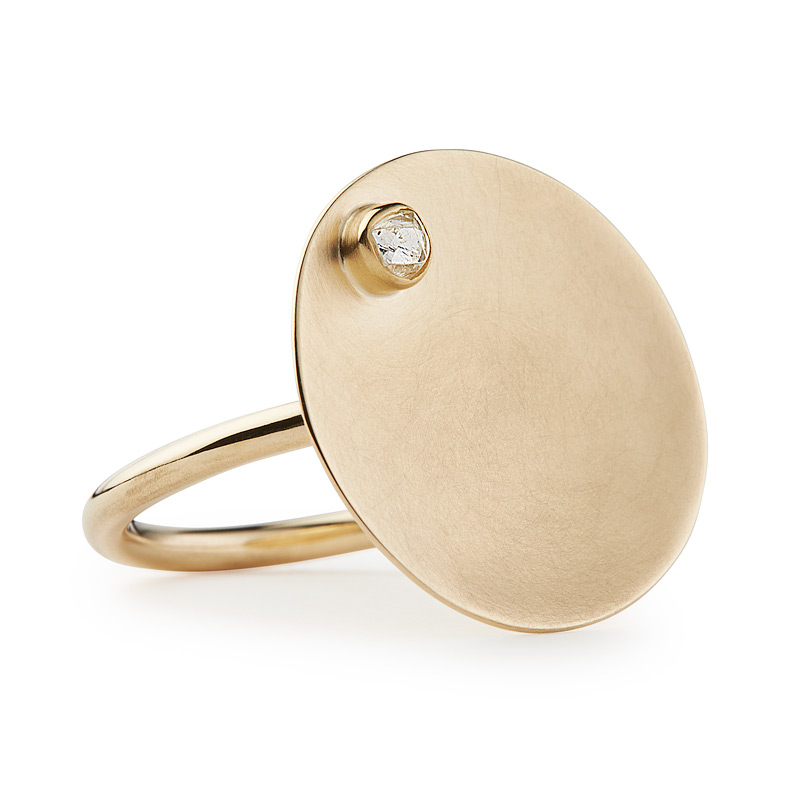 TILT ring in 9ct gold and uncut marine diamond