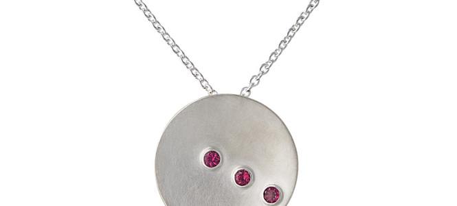 TILT pendant in sterling silver and rhodolite