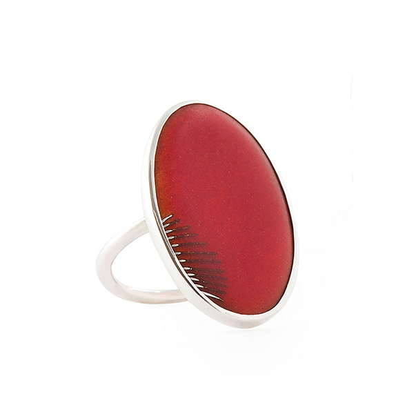 I WANT TO BE A BUTTERFLY ring in silver and red enamel